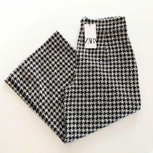 Zara Houndstooth Tweed Cropped Pants Size XL